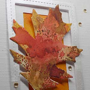 Square close up of leaf on front of hello handmade card