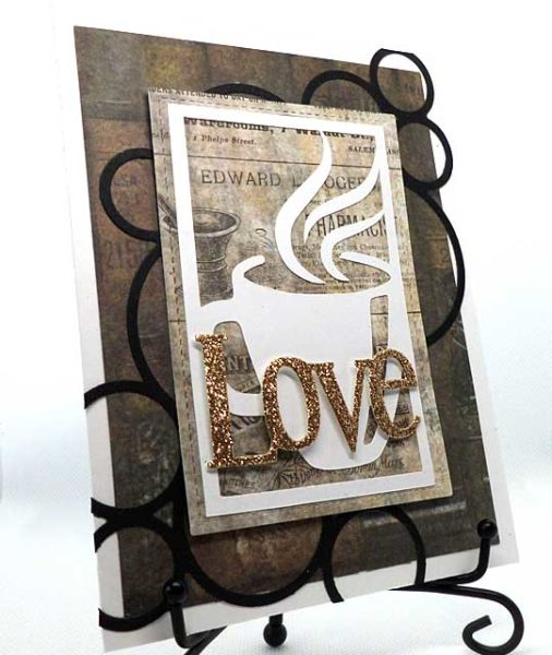 Love card with coffee cup ad circles