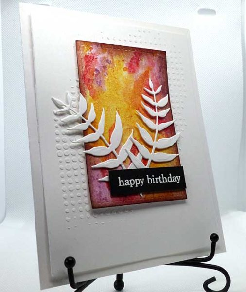 Happy birthday ferns front of card