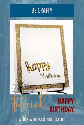 Happy birthday card in gold