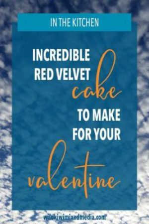 Pinterest pin for red velvet cake recipe